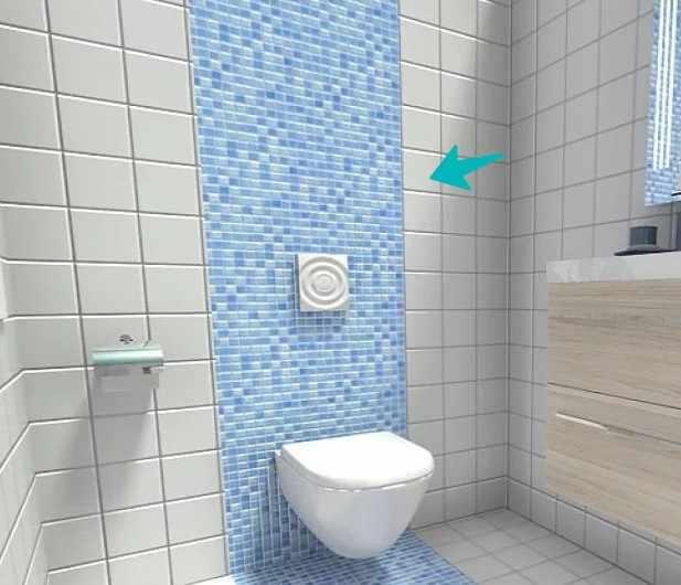 Зонирование ванной с помощью мозаики