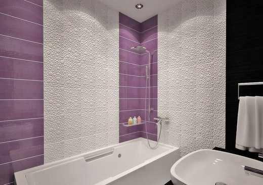 белая и сиреневая плитка в ванной