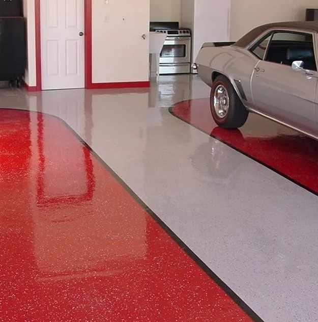 Наливной резиновый пол в гараже