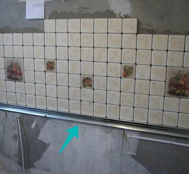 Укладка фартука из плитки