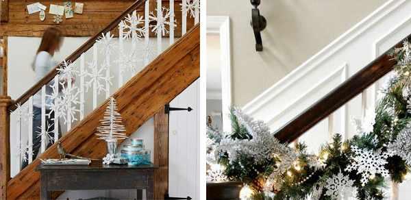 Оформление лестницы на Новый Год.