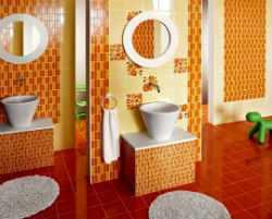 Оранжевая ванная комната.