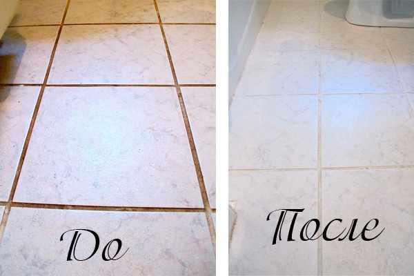 Пример чистки швов между плиток.