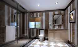 Полосатая ванная комната.