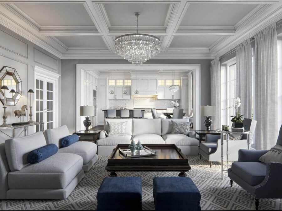 Американский дизайн гостиной