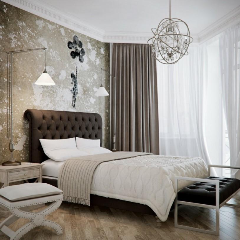 Шоколадная спальня со светлыми оттенками