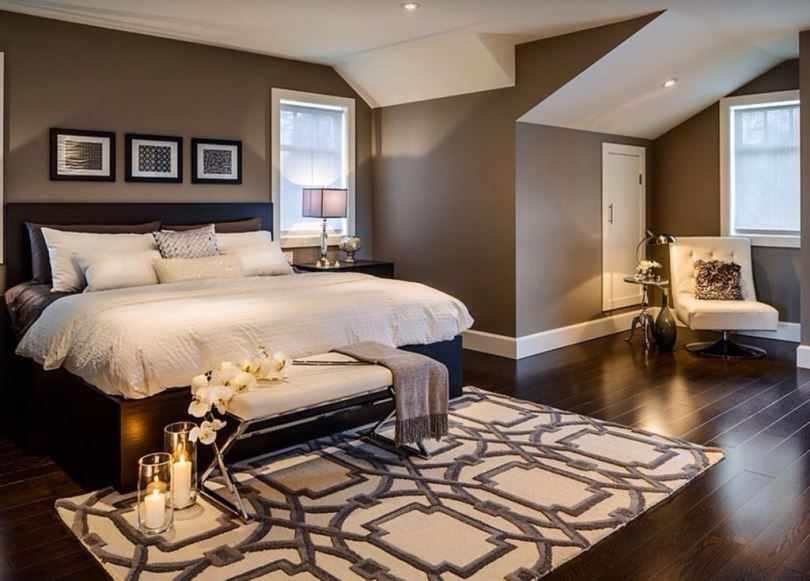 Шоколадная спальня с белым