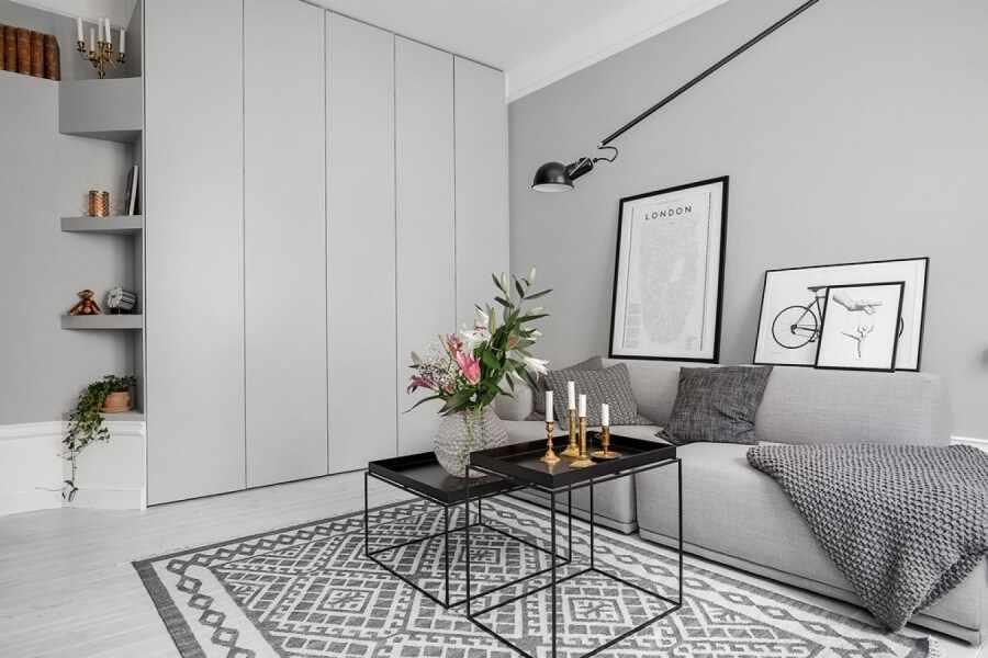 Интерьер однокомнатной квартиры в серых тонах