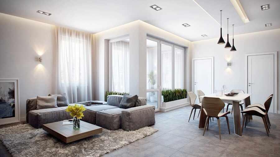 Светлые цвета в интерьере гостиной