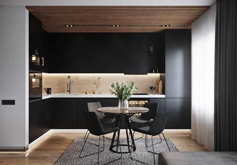 Дизайн черной угловой кухни минимализм