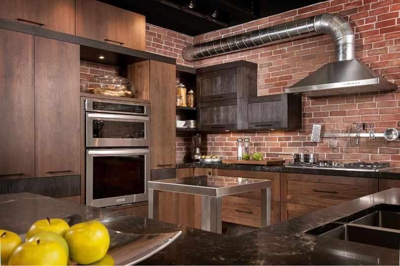 Дизайн угловой кухни лофт