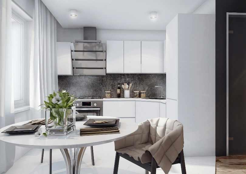 Дизайн белой угловой кухни