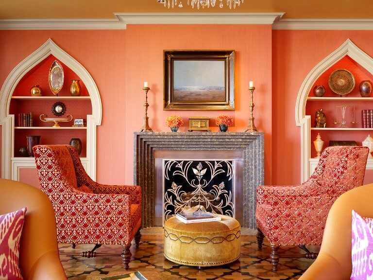 Персиковый цвет в марокканском интерьере