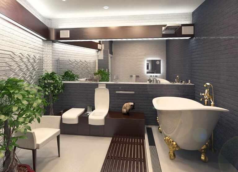 Стиль лофт в ванной
