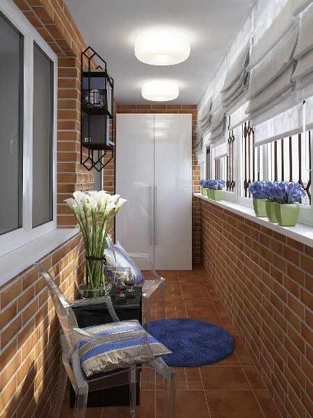 Стиль лофт на балконе