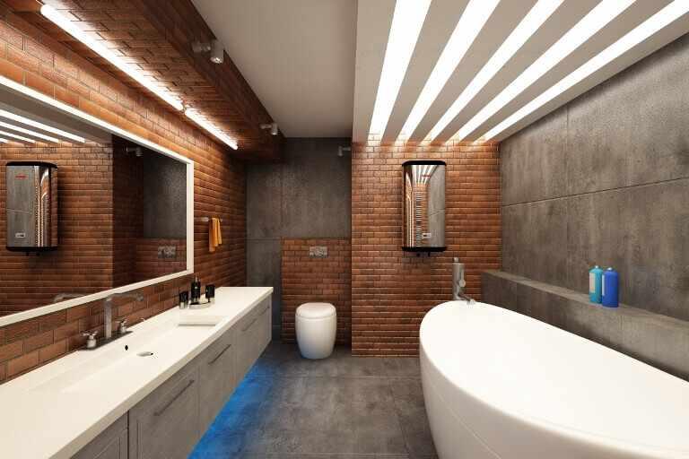 Стиль лофт в интерьере ванной