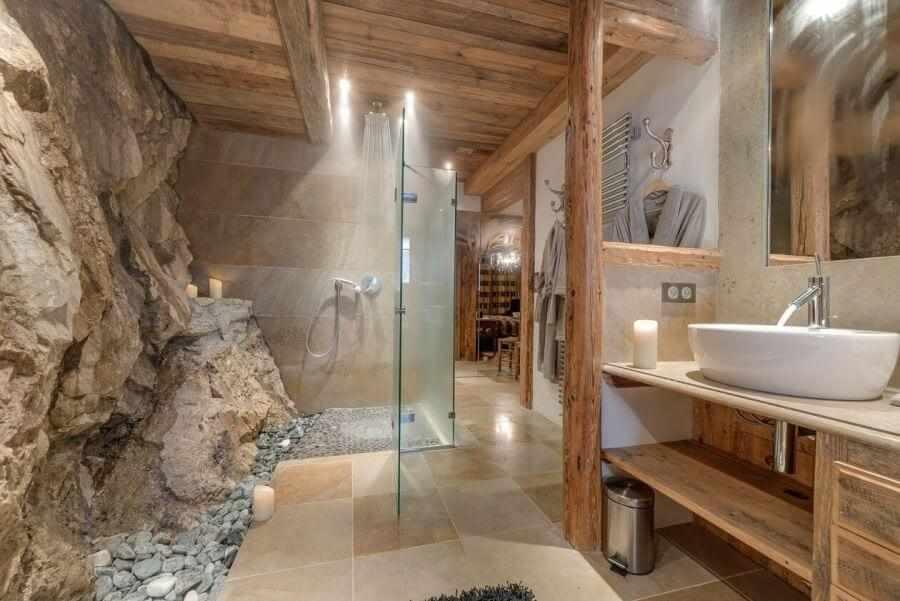 Стиль шале в интерьере ванной
