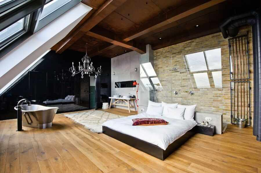 Ванная комната и спальня в стиле лофт