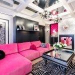 Черно-розовый интерьер