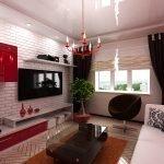 Белый и красный в дизайне комнат