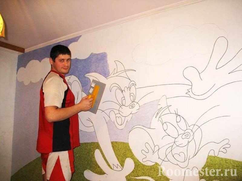 Сюжет из мультика на стене