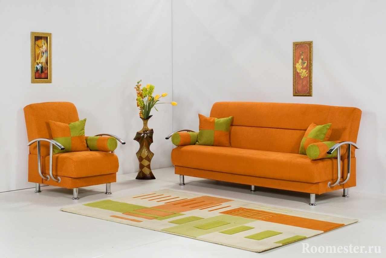 Оранжево- серый интерьер
