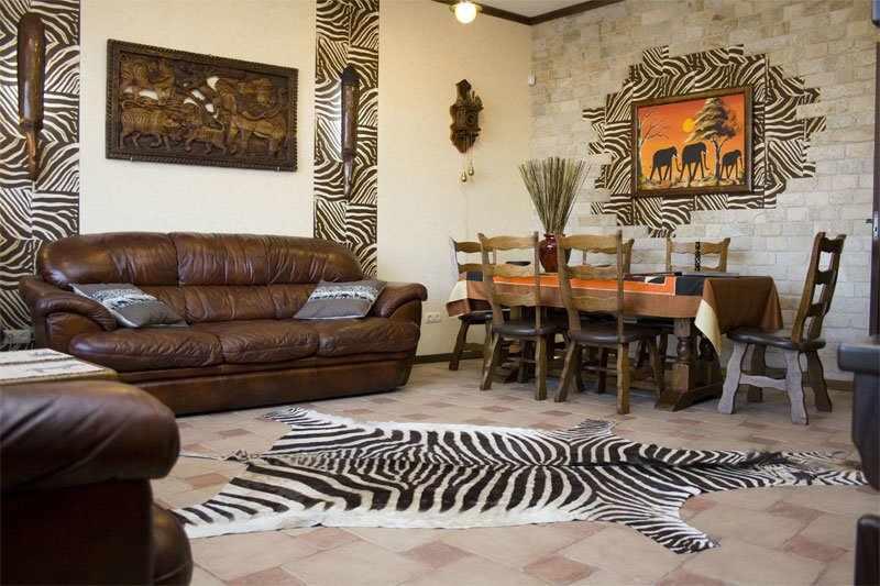 Кожаная мебель в интерьере в африканском стиле