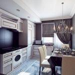 Сочетание черного фартука и белой мебели