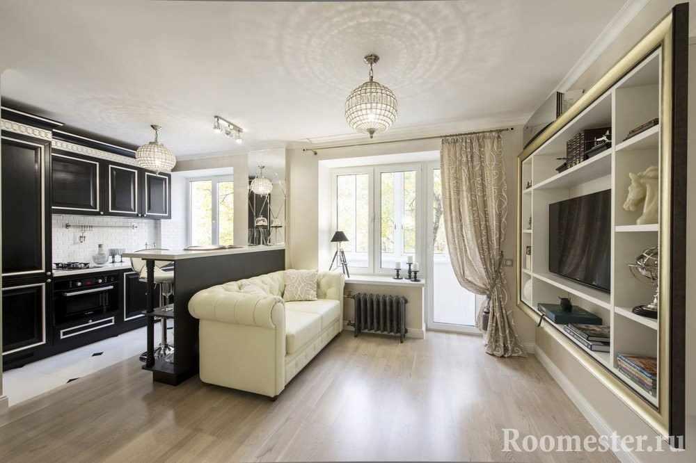 Пример дизайна однокомнатной квартиры в стиле арт деко