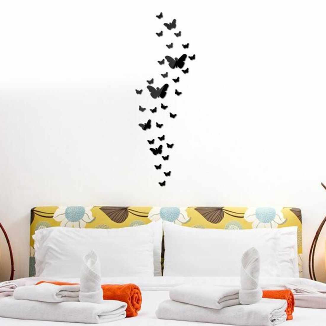 Бабочки из виниловой пленки над кроватью