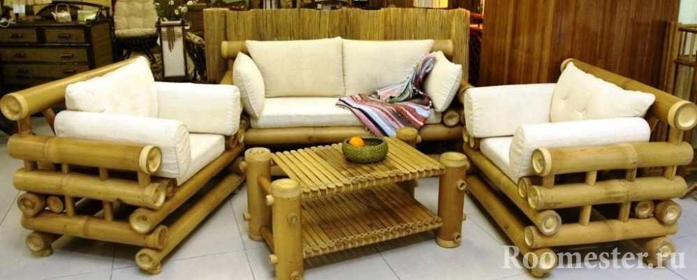 Мебель из бамбука с подушками