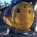 Деревянная баня-прицеп
