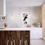 Кухня в стиле лофт без подвесных шкафов