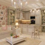 Комната с зонами кухни и гостиной