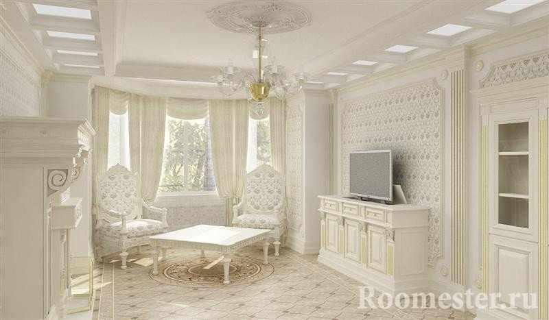 Интерьер в стиле ампир с белой мебелью