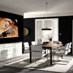 Столовая с белой мебелью