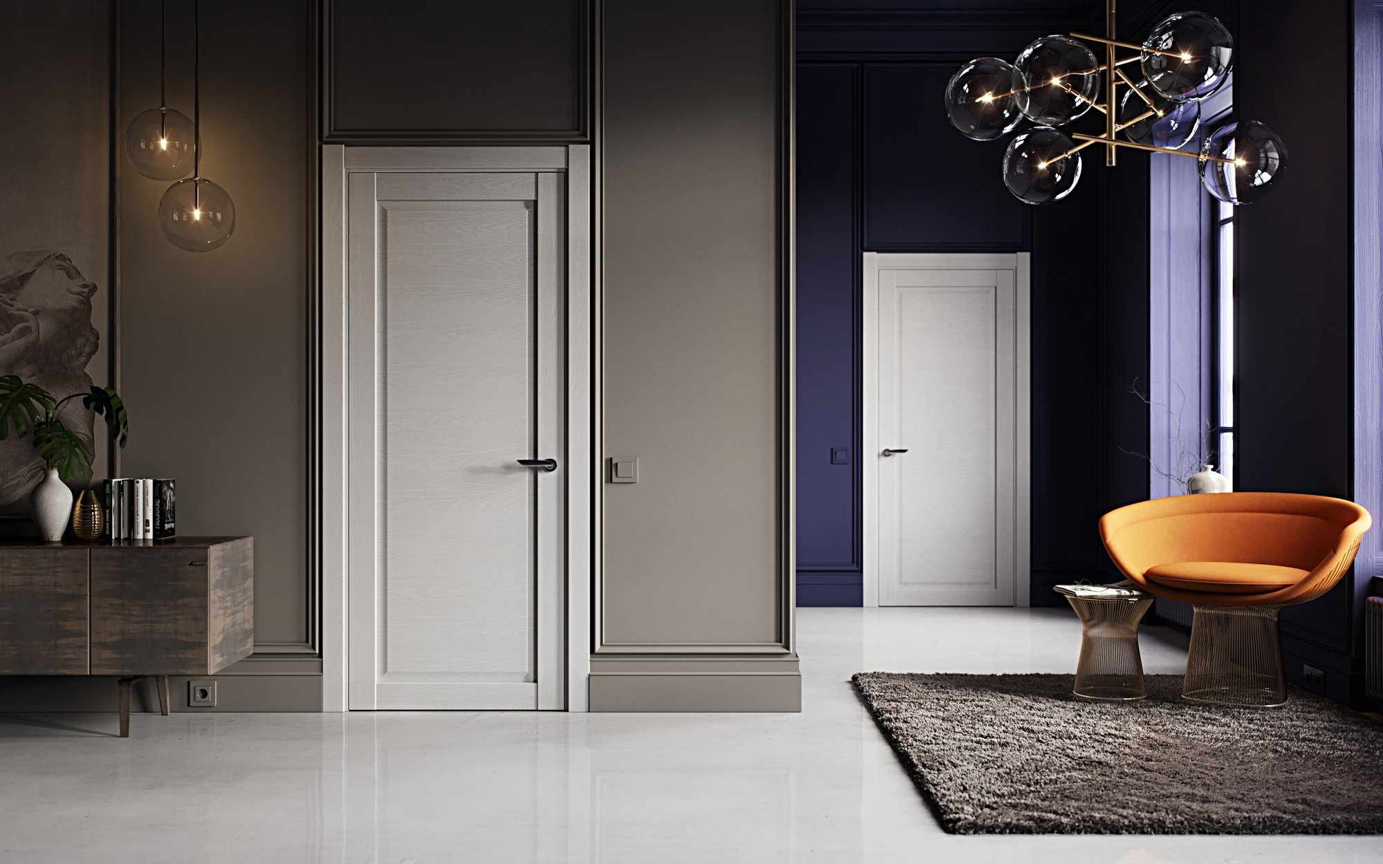 Белая дверь из натурального дерева для темной комнаты