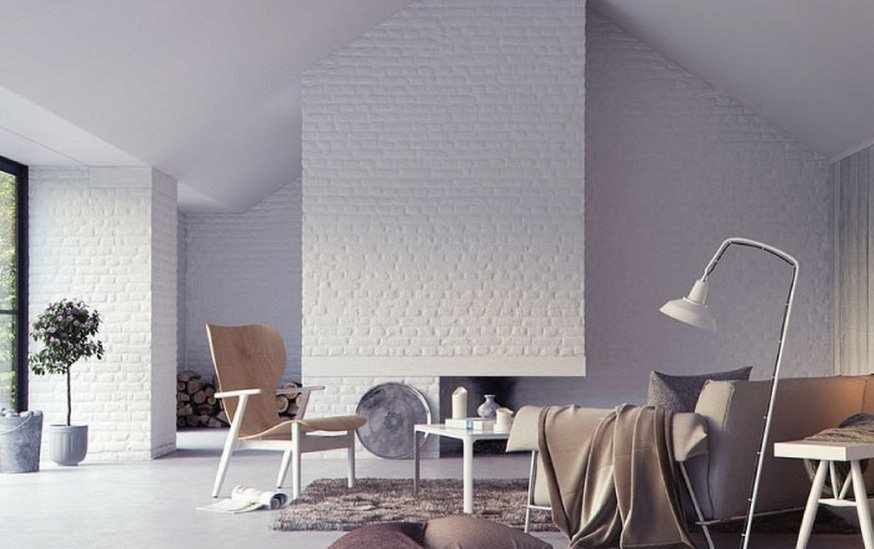 Белая кирпичная плитка на стенах гостиной