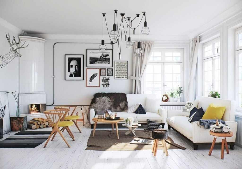 Скандинавский стиль с белыми стенами