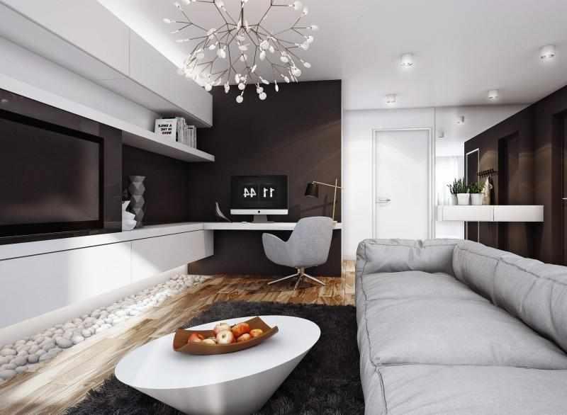Гостиная с бело-коричневыми стенами