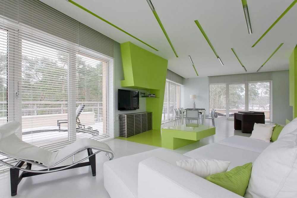 Бело-зеленые стены в интерьере