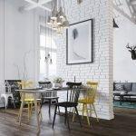Черно-желтые стулья у стола