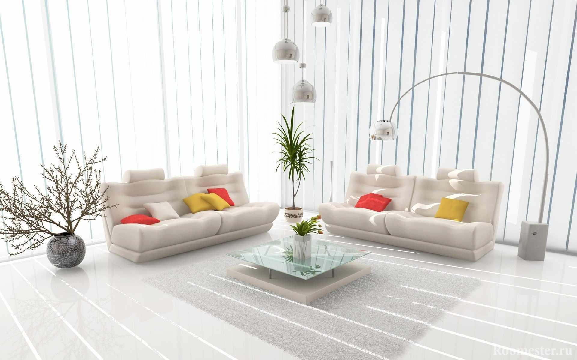 Яркие подушки на белых диванах в гостиной