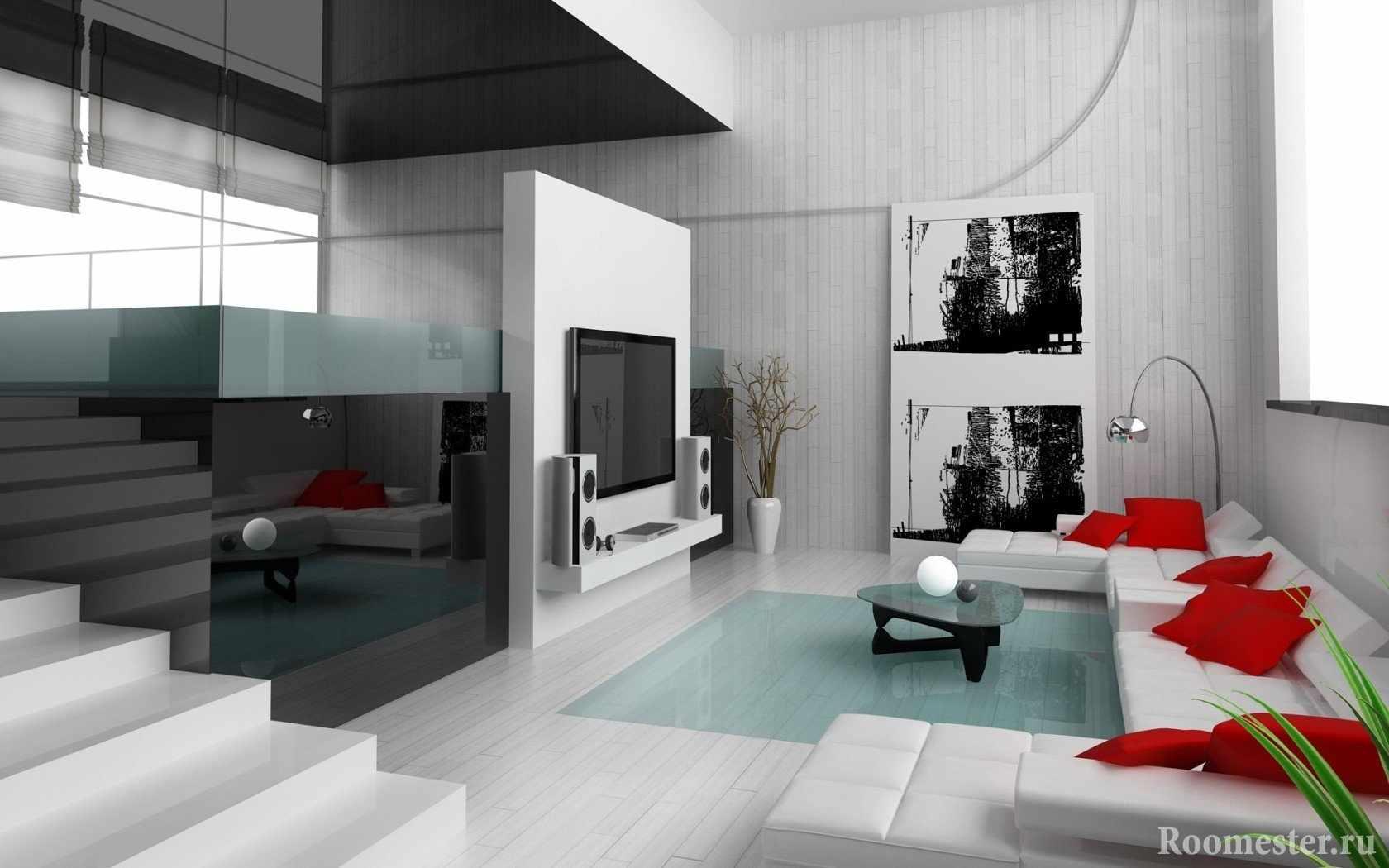 Красные подушки на белом диване перед телевизором