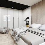 Белый раскладной диван в спальне