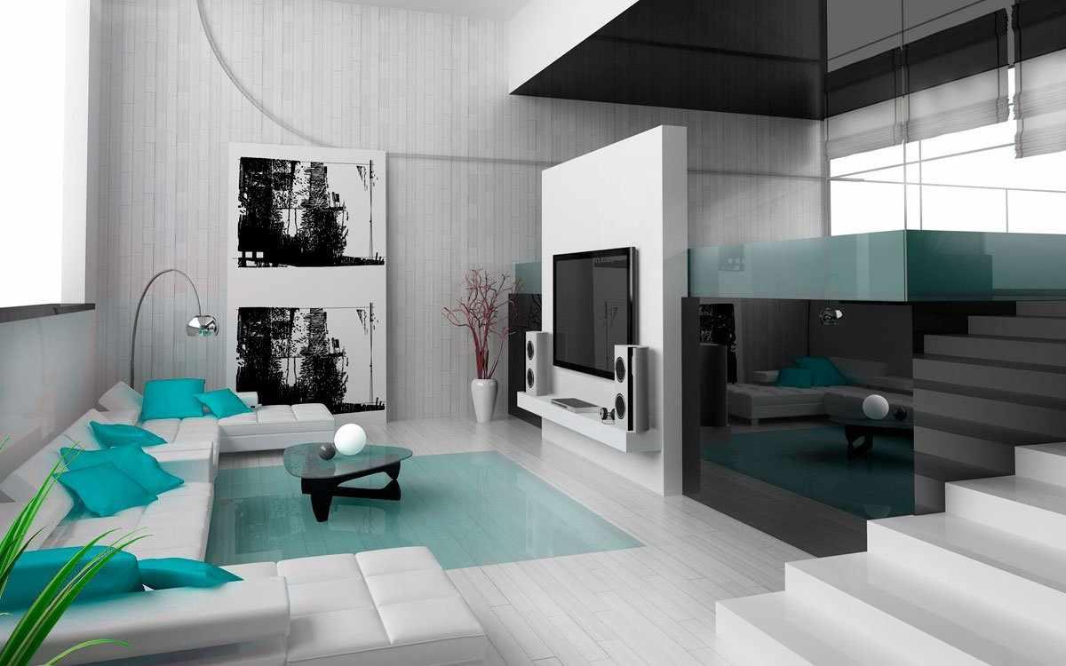 Гостиная в черно-белых тонах с бирюзовыми предметами интерьера