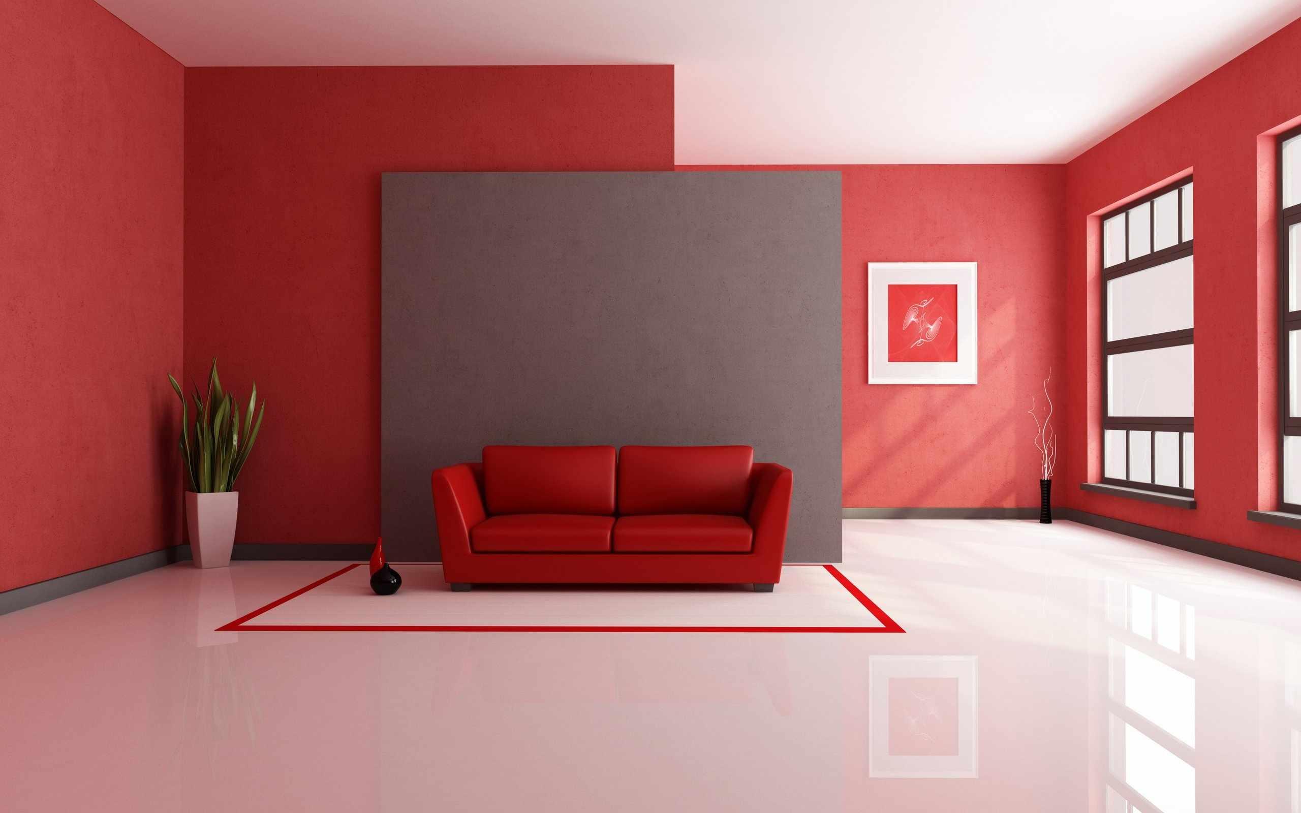 Белый пол в сочетании с красными отделочными материалами и предметами интерьера