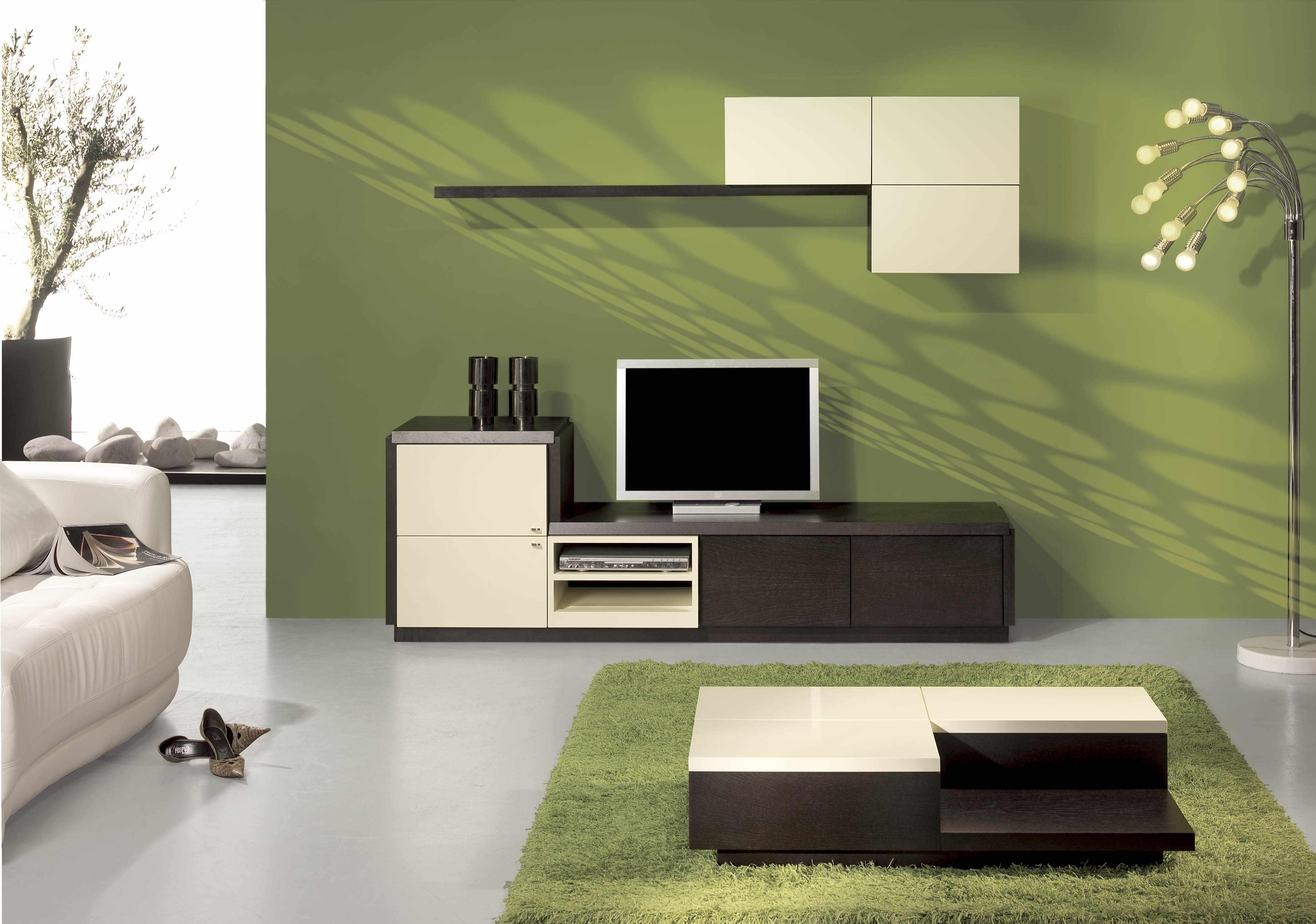 Оливковый, белый и шоколадный в дизайне гостиной