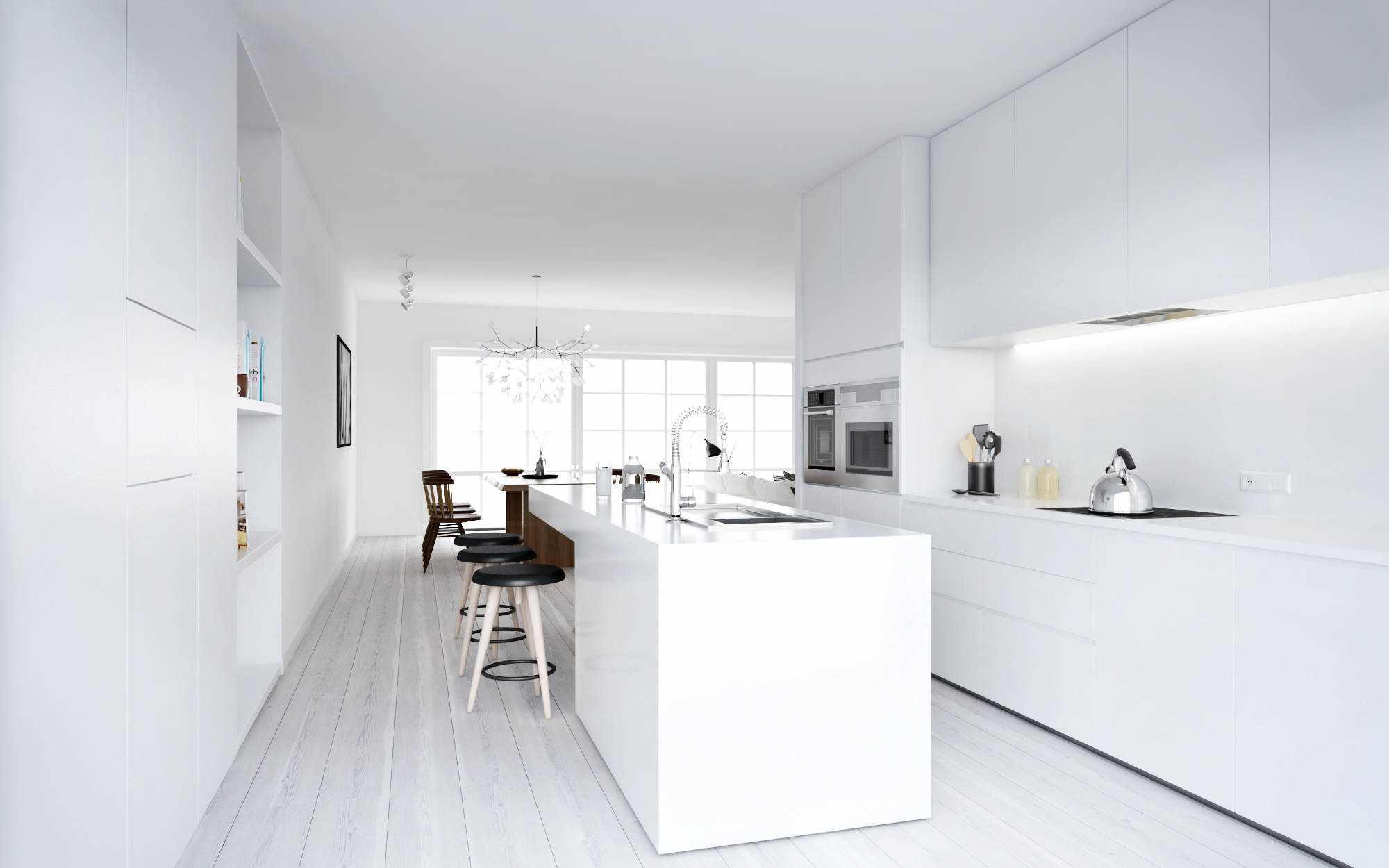 Белые полы на кухне