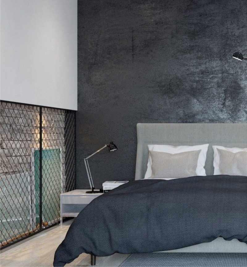 Окрашенная стена в спальне
